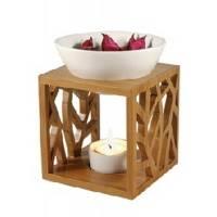 Aromalampe aus Bambus und Keramik für Aromatheraphie